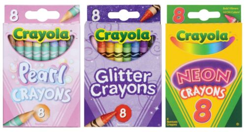 New Bundle Of 3 Crayola Crayons in Pearl, Glitter and Neon color