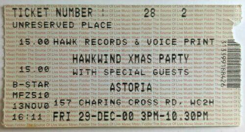 2000 Hawkwind Ticket Stub 12/29/00 - London Astoria, England
