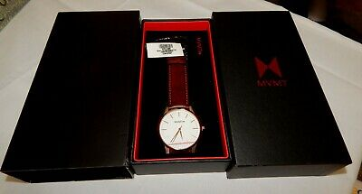 MVMT The 40 Series 40mm Rose Gold Natural Tan Leather Strap Men's Watch NEW
