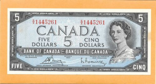 1954 CANADIAN 5 DOLLAR BILL S/X1445261 NICE (CIRCULATED WITH STAIN)