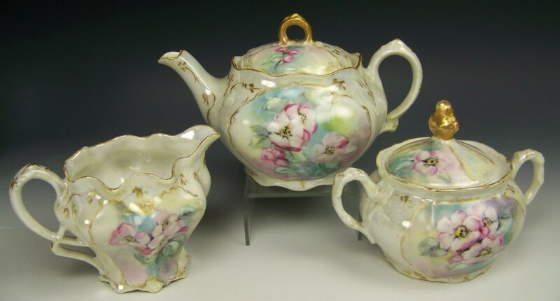 BEAUTIFUL HAND PAINTED WILD ROSES TEA POT CREAMER SUGAR SET ARTIST SIGNED SNYDER