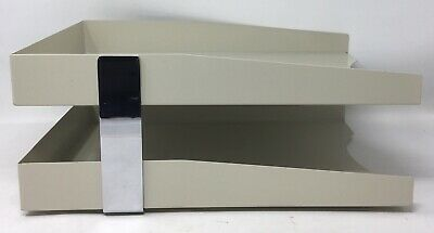 Metal Desk Tray Double Stack Legal Paper File Organizer Front Load