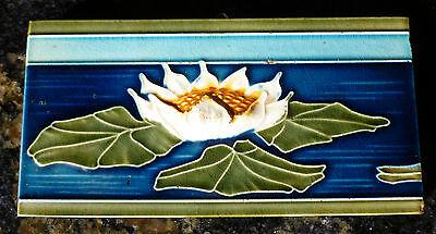 Jugendstil Fliese art nouveau tile Tegel Boizenburg Seerose grandios rar top