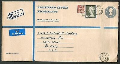 1973 Great Britain 23p Size K Registered Envelope Commercially Used to U.S.A.