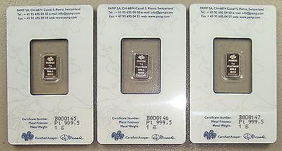 Lot of (3) Pamp Suisse .9995 Fine 1 Gram Platinum Bullion Bars