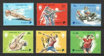 SINGAPORE 2021 TOKYO 2020 OLYMPIC GAMES COMP. SET OF 4 STAMPS IN MINT MNH UNUSED