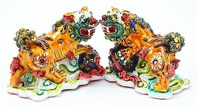 Feng Shui Pair of Colored Fu Foo Dog Guardian Lion Statue Figurine Gift