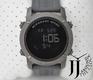 New Authentic Burberry Men Sport Digital Chronograph Watch Gray Rubber BU7715