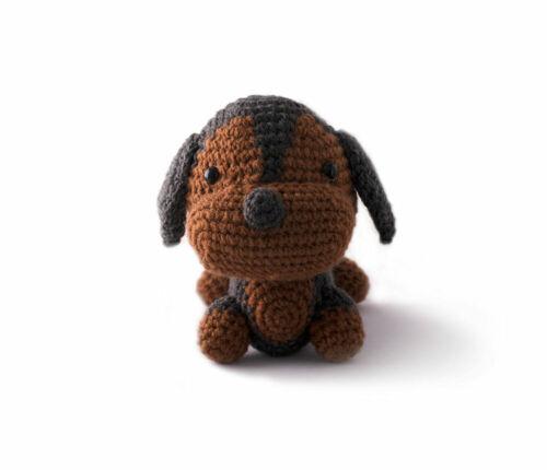 Brown-Grey Dachshund Dogs Handmade Amigurumi Stuffed Toy Knit Crochet Doll VAC