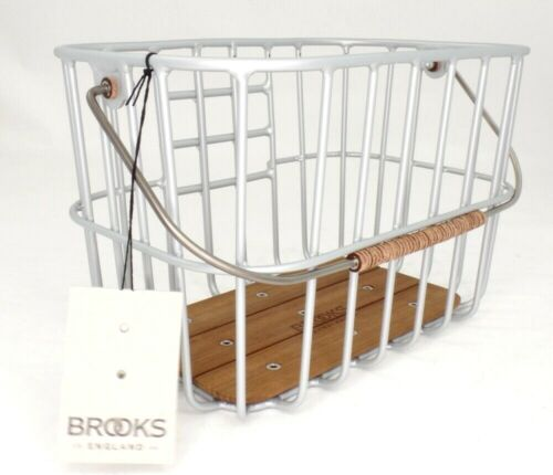 Brooks England Hoxton Bicycle Wire Basket, Brushed Aluminum/Brown