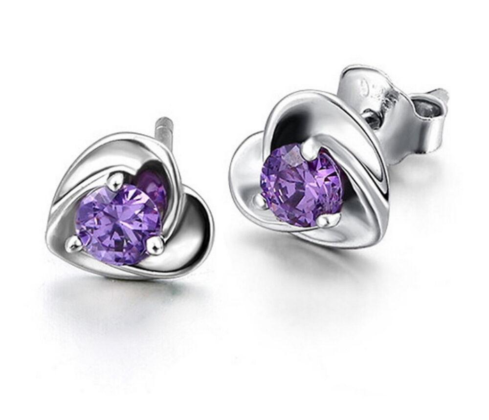 Fashion Women Solid 925 Sterling Silver Heart Crystal Ear Stud Earrings Jewelry Earrings