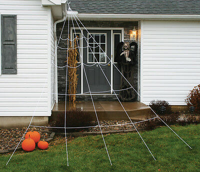 12' Super Giant Large Outdoor Yard Rope Spider Web Halloween Spooky Scary Decor - Large Outdoor Halloween Spiders