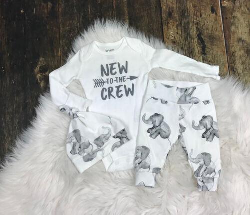 Newborn Baby Girl Boy Tops Romper Elephant Pants Hat Outfits