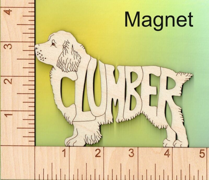 Clumber Spaniel Dog laser cut and engraved wood Magnet Great Gift Idea