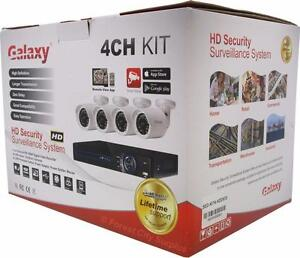 New - COMPLETE SECURITY CAMERA SYSTEM WITH 4 DOME CAMERAS, DVR AND CABLE - READY TO INSTALL AND PROTECT YOUR PROPERTY!