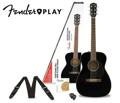 Fender CC-60S Concert Acoustic Guitar Pack With Fender Play Black