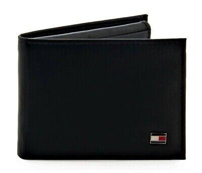 Tommy Hilfiger® Men's Black Oxford Flip Billfold Leather