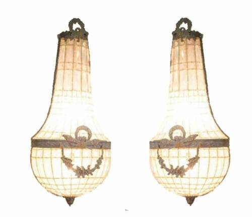 2 Grand Vintage Garland French Empire Bronze Basket Crystal Wall Sconces Lamps