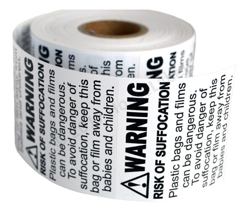 SUFFOCATION WARNING Labels/Stickers (2 x 2) - FBA Approved - (1) Roll of 500
