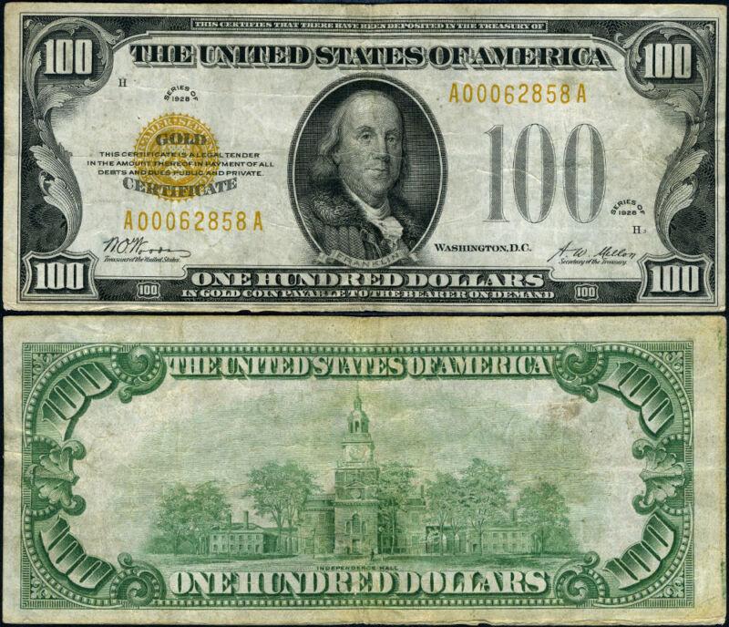 FR. 2405 $100 1928 Gold Certificate A-A Block VF