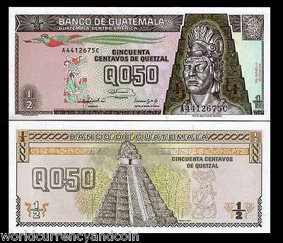GUATEMALA 1/2 Half QUETZAL P98 1998 BIRD UNC TIKAL TEMPLE LATINO MONEY X 20 NOTE