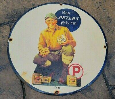 VINTAGE PETERS DATED 1949 HIGH VELOCITY SHELLS PORCELAIN AMMO GUN SIGN SHOTGUN