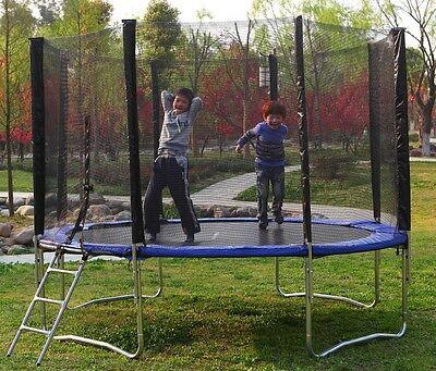 Blue, 10 ft Round, Trampoline With Safety Net Enclosure, Ladder and Frame Safe
