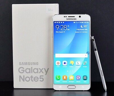 New in Box Samsung Galaxy Note 5 SM-N920T 32GB Bloodless GSM Unlocked ATT T-Quick