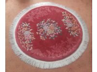 VINTAGE AUTHENTIC PINK ROUND ORIENTAL RUG. USED. GOOD CONDITION. £180