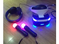 PSVR - PlayStation VR Headset, 2 move controllers, V2 PS4 camera, PlayStation headphones version 2.0