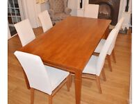 6 High backed dining chairs and table