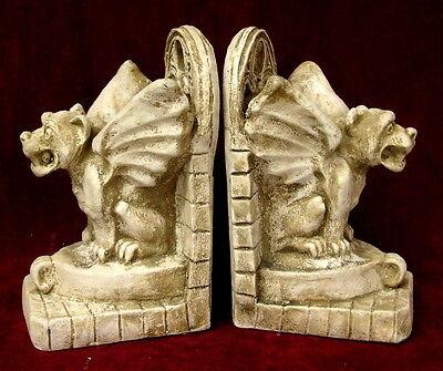 Winged Gargoyle Bookend Mythical Gothic Art  Antique Finish Pair