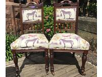 Pair of antique chairs reupholstered