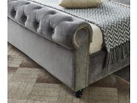 Plush velvet Crush Velvet Sleigh beds on Clearance 2