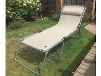 Sun Bed Lounger Lafuma Siesta Folds flat. Cream with matching headrest. RP £120