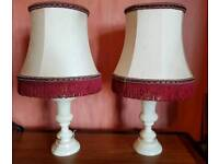 Pair of Vintage White Marble Table Lamps