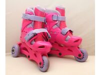Girls Roller Blades Tri to In Line Boot Pink and Purple