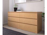 IKEA MALM Chest of 6 drawers, oak veneer 160x78 cm
