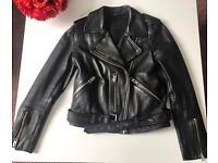All Saints black leather biker jacket women 10