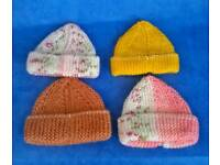 New premature baby girls hats x4