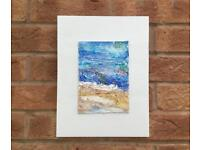 'Beach' Mixed Media Abstract Art on Wooden Board. Collect Stamford Bridge