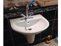 Pair of Modern bathroom sinks white