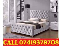 New Offer BLACK FRIDAY OFFER-- Crush velvet Designer Double Bed Frame With Memory Foam
