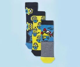 NEW Minions Socks 3 Pair Size 6-8