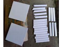 27 White ceramic 6 x 6 tiles & edging (New)