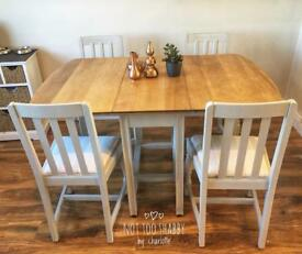 Gorgeous Retro Oak Dropleaf Table and 4 Chairs