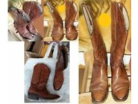 DESIGNER CARBOCA COWBOY BOOTS S4 TAN LEATHER