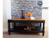 COFFEE TABLE ,INDUSTRIAL,SHELF ,TV STAND ,SOLID PINE ,BLACK,SHABBY CHIC CAN DELIVER LOCAL