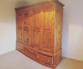 Very large double wardrobe in pine