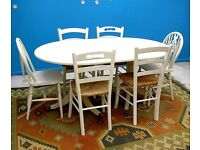 LARGE DINING ROOM SHABBY CHIC CREAM 8 & 6 SEAT FOLDING SOLID WOOD TABLE WITH 6 CHAIRS